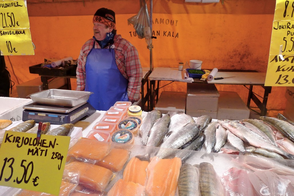 Selling fish in Helsinki outdoor market, January 2012 (photo credit Jill Browne)