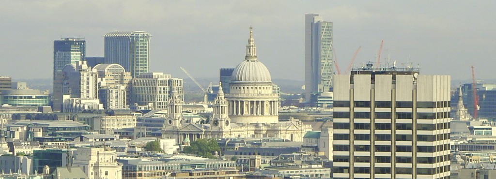 London skyline featuring the white dome of St. Paul's Cathedral
